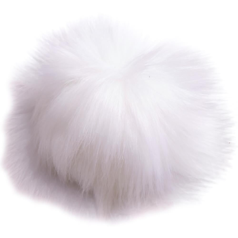 White Synthetic Fur Pompom
