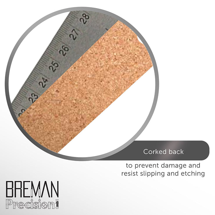 "Breman Precision Stainless Steel Cork Back Ruler 12"" with Metric"