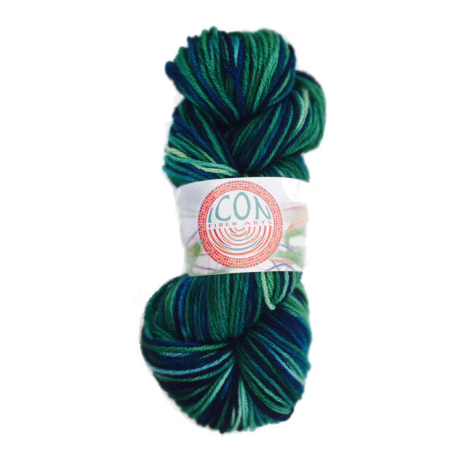 Hand Painted Wool Yarn in Peacock