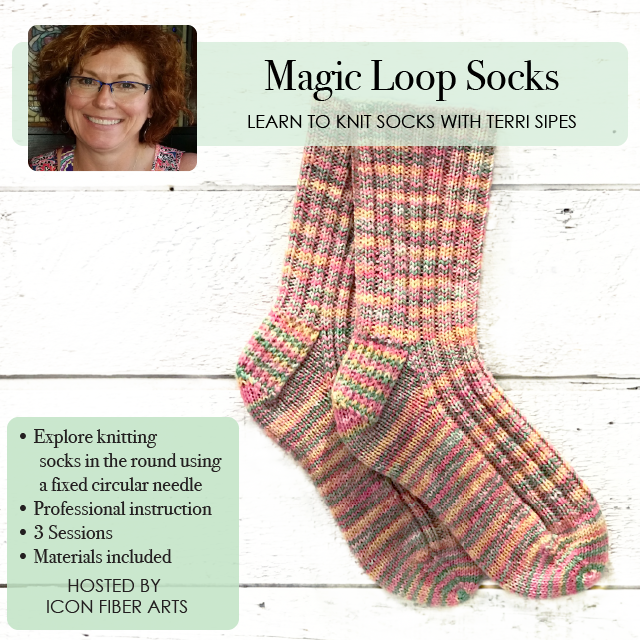 Magic Loop Sock Knitting Class at Icon Fiber Arts with Terri Sipes