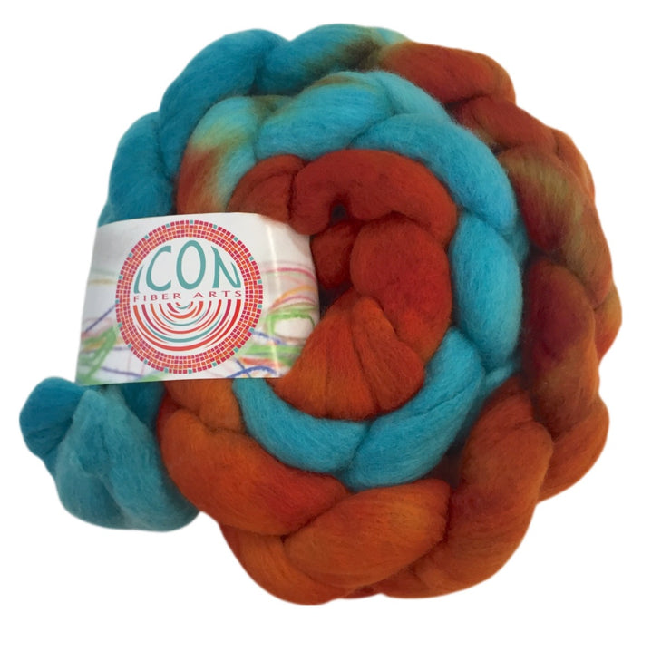 Superfine Merino Wool Roving Hand Painted Josh Steger Koi Pond