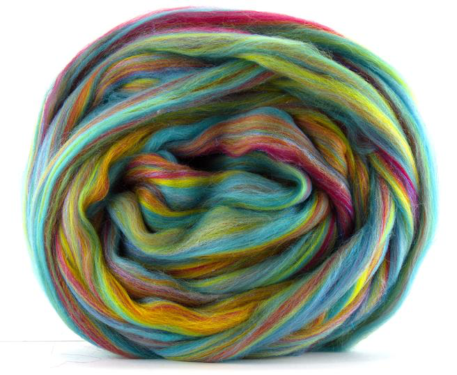 Merino Wool Sparkle Blend Roving by the Ounce - Over The Rainbow