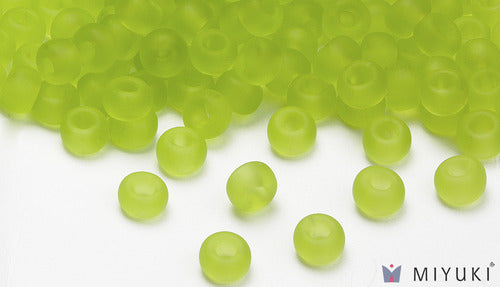 Transparent Frost Chartreuse 6/0 Glass Beads