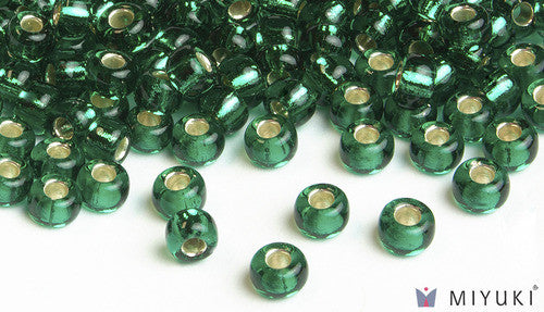 Silverlined Emerald 6/0 Glass Beads