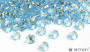 Miyuki Silverlined Pale Sky Blue 6/0 Glass Beads