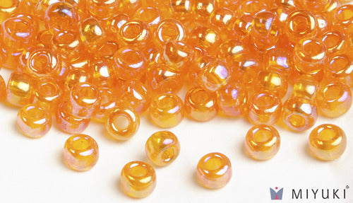 Transparent Orange AB 6/0 Glass Beads