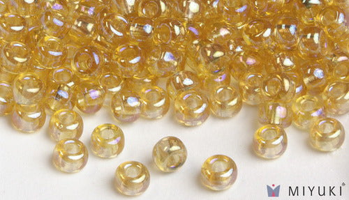Transparent Pale Gold AB 6/0 Glass Beads