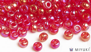 Transparent Red AB 6/0 Glass Beads