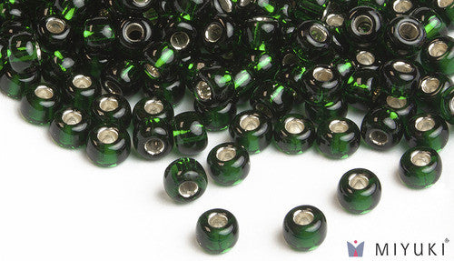 Silverlined Deep Emerald 6/0 Glass Beads