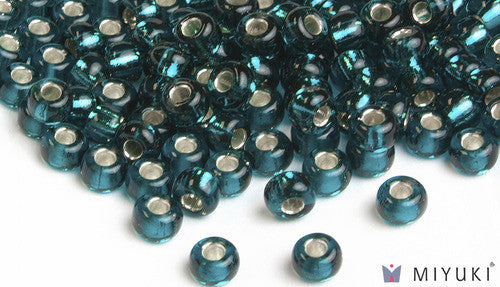 Miyuki Silverlined Dark Teal 6/0 Glass Beads