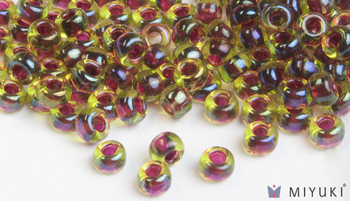 Cranberry-lined Peridot AB 6/0 Glass Beads