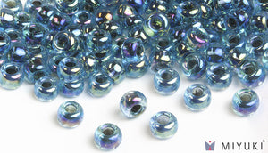 Blue-lined Aqua AB 6/0 Glass Beads