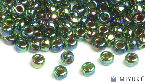 Cobalt-lined Green AB 6/0 Glass Beads