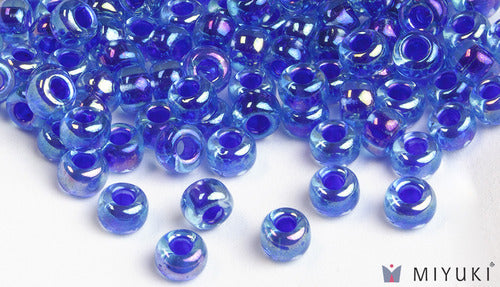 Cobalt-lined Sapphire AB 6/0 Glass Beads