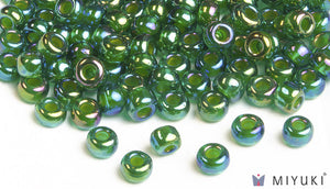 Chartreuse-lined Green AB 6/0 Glass Beads