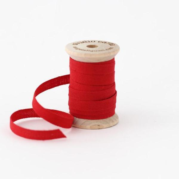 "1/4"" Italian Cotton Ribbon Spool 5 yards by Studio Carta Red"
