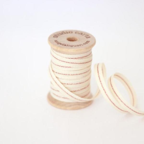 "1/4"" Italian Cotton Ribbon Spool 5 yards by Studio Carta Rose Gold Stripe"