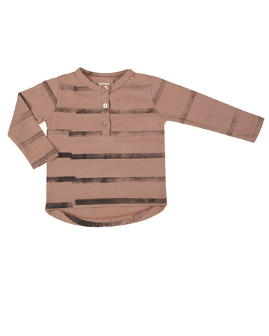 henley with stripes - camel rose