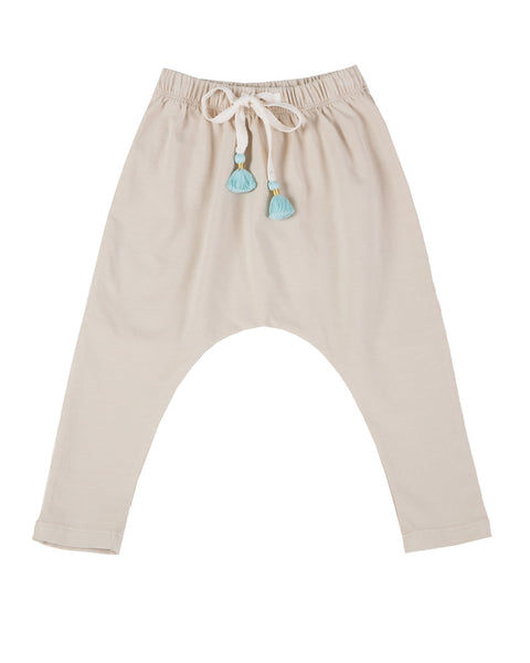 harem pants with tassels - beige