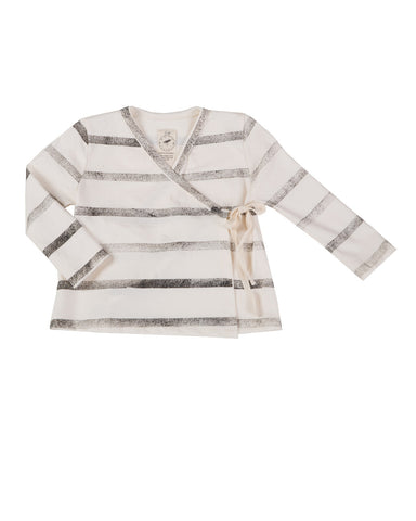 wrap shirt with stripes - natural