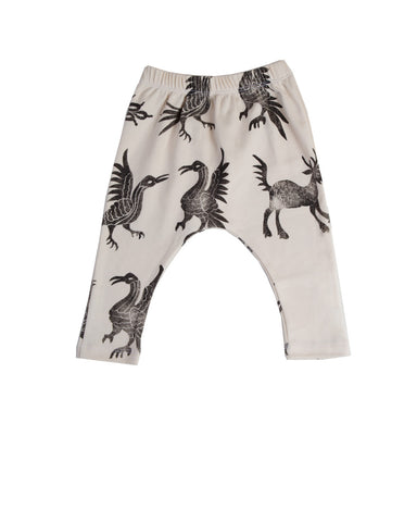 harem pants with bird print