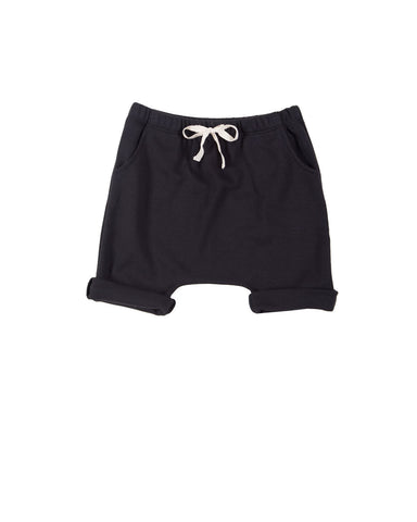 harem shorts with pockets - black
