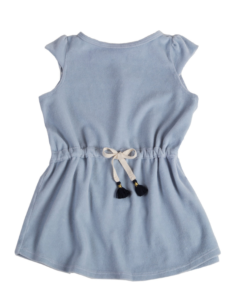 velour toga dress - mist blue