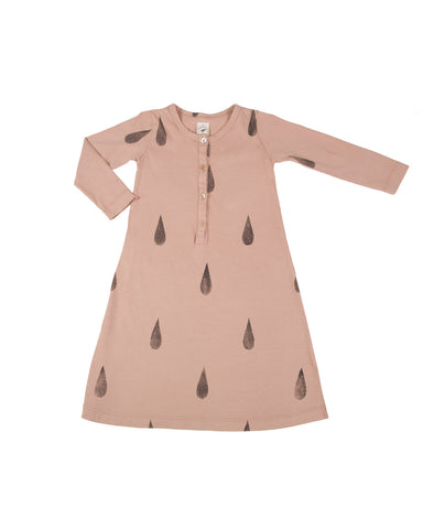 tipi dress with raindrops - camel rose