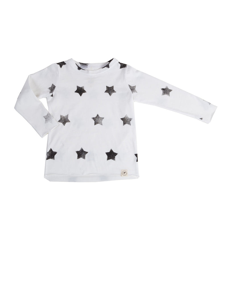 raw edge tee with stars - natural