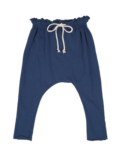 raw edge harem pants - navy blue