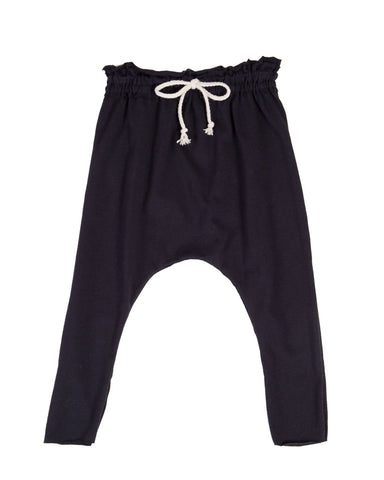 raw edge harem pants - black
