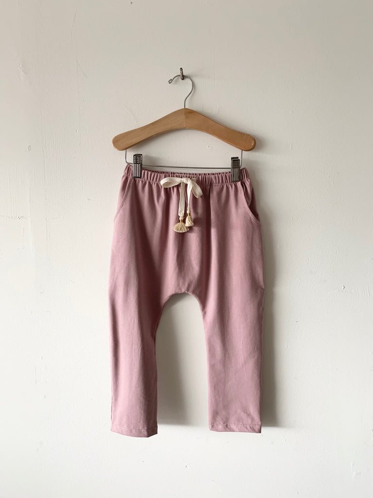 organic cotton harem pants with tassels - woodrose