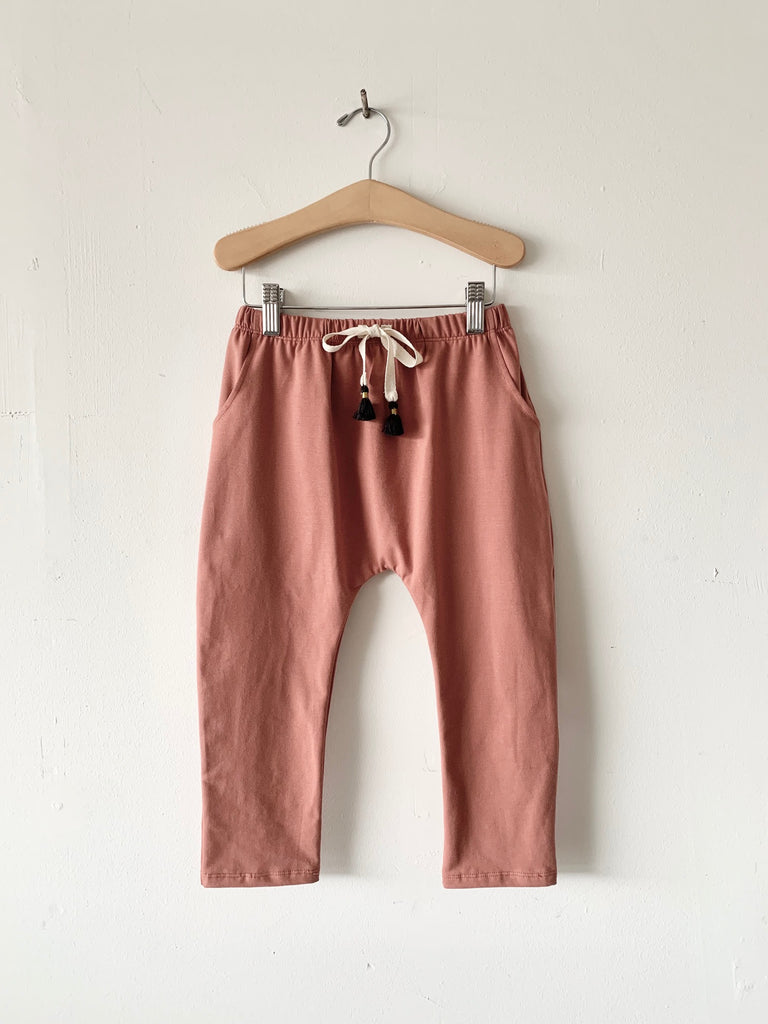organic cotton harem pants with tassels - clay