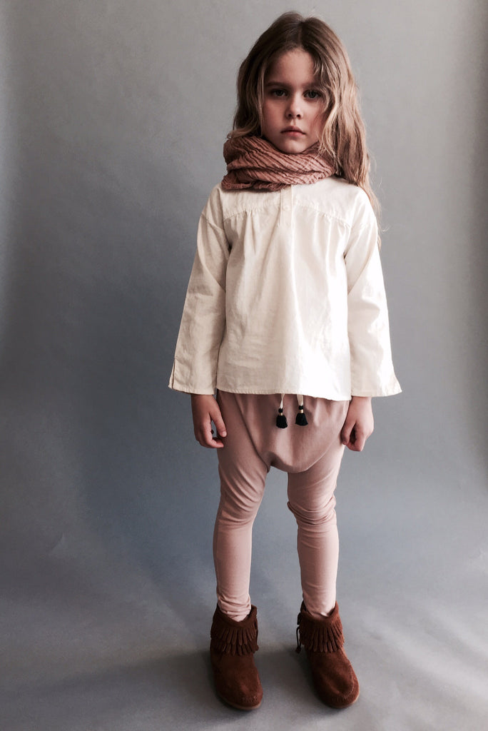 organic cotton harem pants with tassels - camel rose