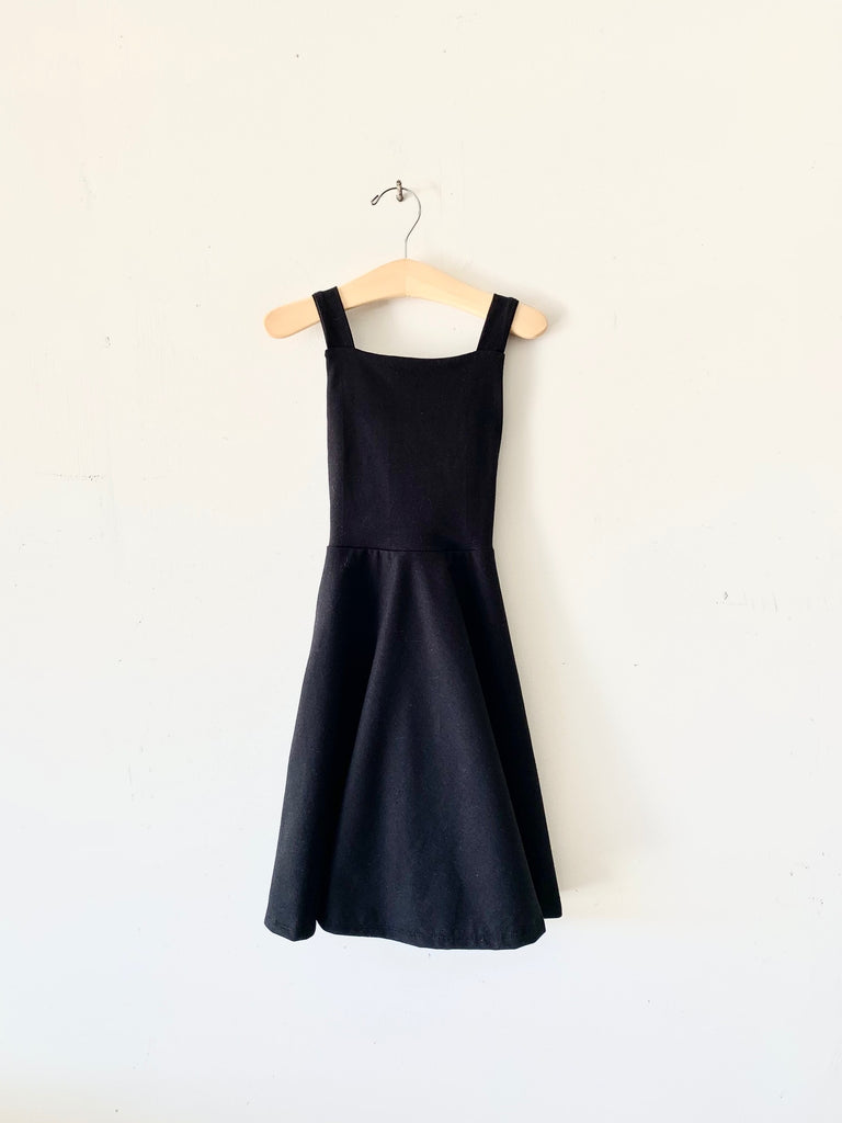 organic cotton pinafore dress - black