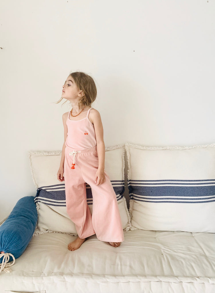 organic cotton velour palazzo pants - blush
