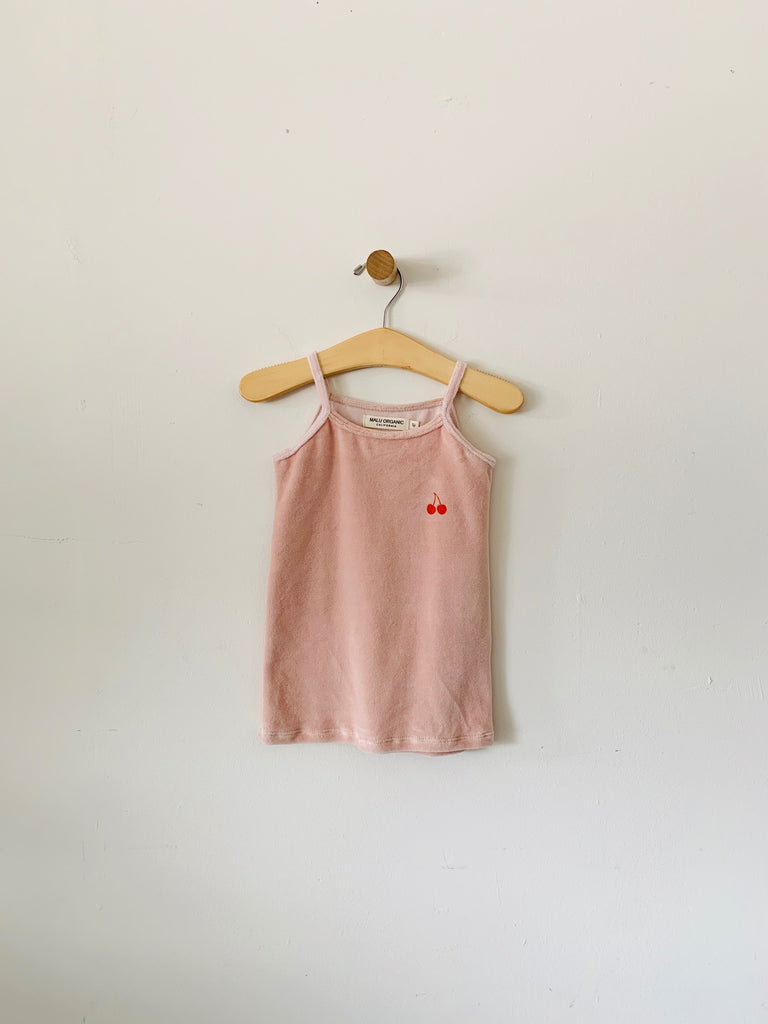 organic cotton velour tank top - blush / orange cherry print