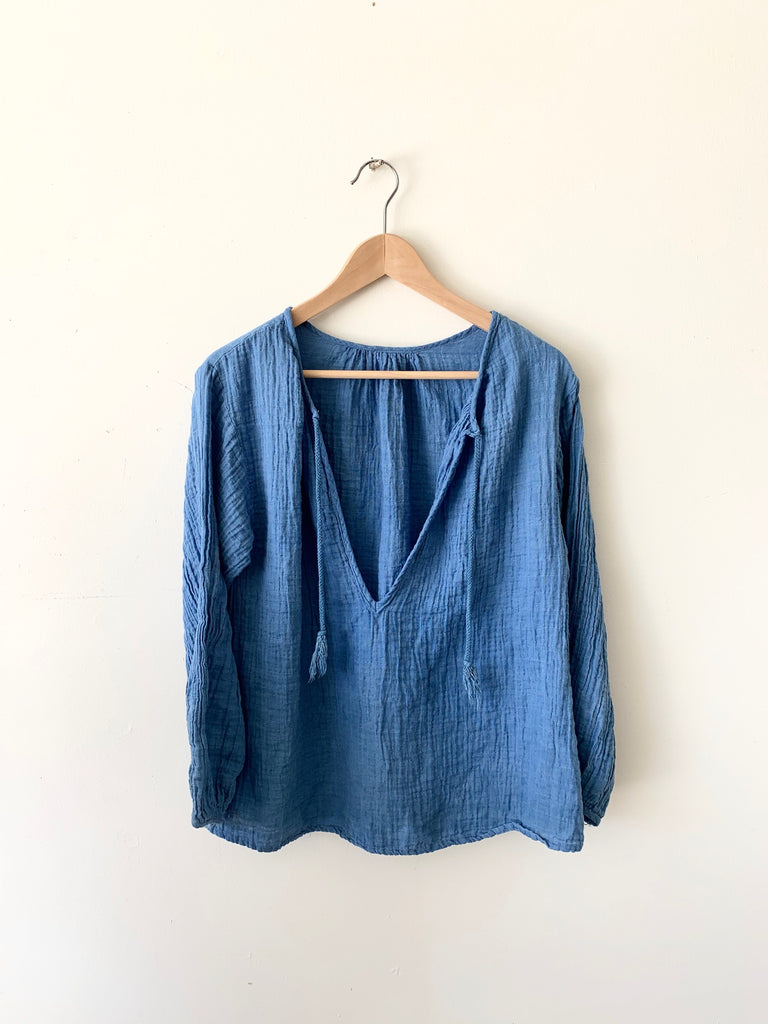 organic cotton santorini peasant top - indigo