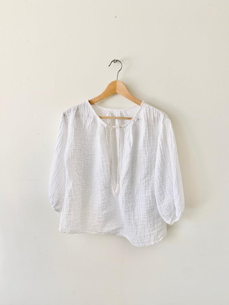 organic cotton santorini peasant top - white