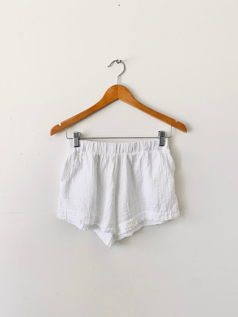 organic cotton santorini lounge shorts - white