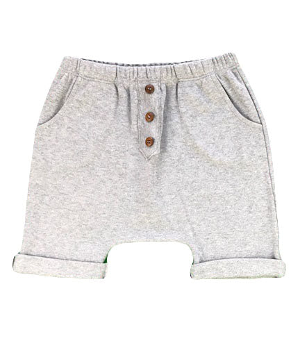 organic cotton harem shorts with buttons - grey melange