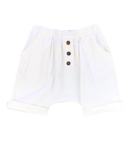 organic cotton harem shorts with buttons - natural