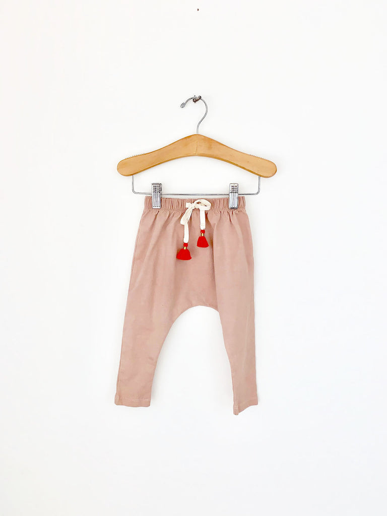 harem pants with tassels - camel rose