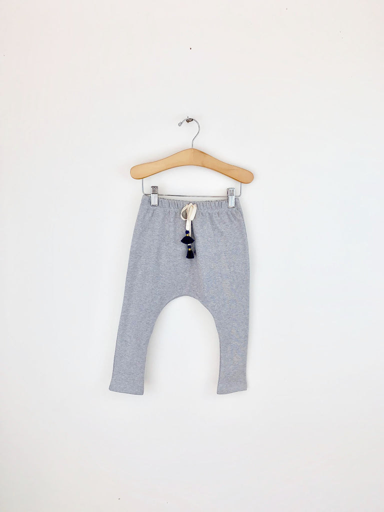 organic cotton harem pants with tassels - grey melange