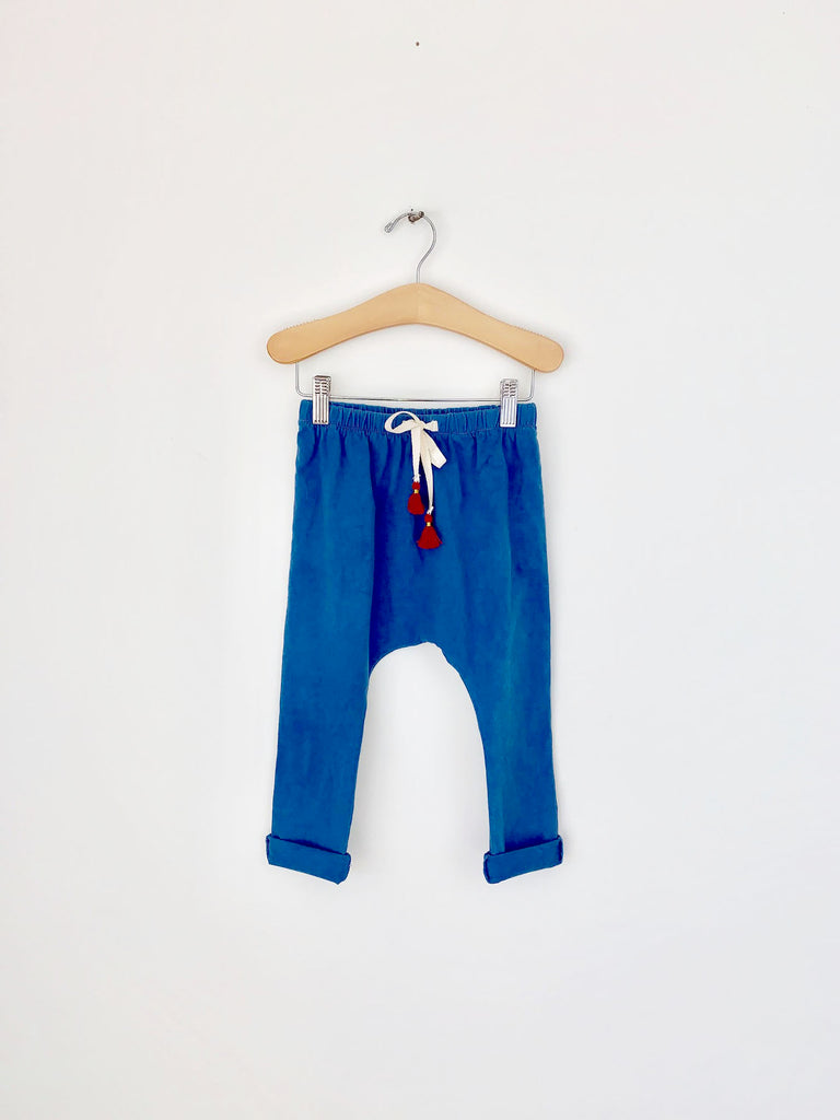 harem pants with tassels - indigo