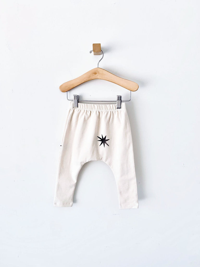 harem pants with black stars - natural