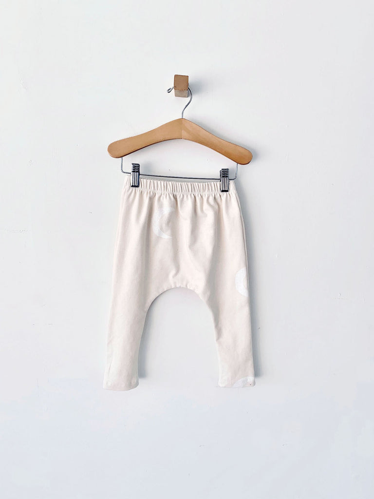harem pants with white moons - natural