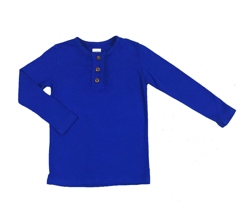 henley with wide placket - greece blue