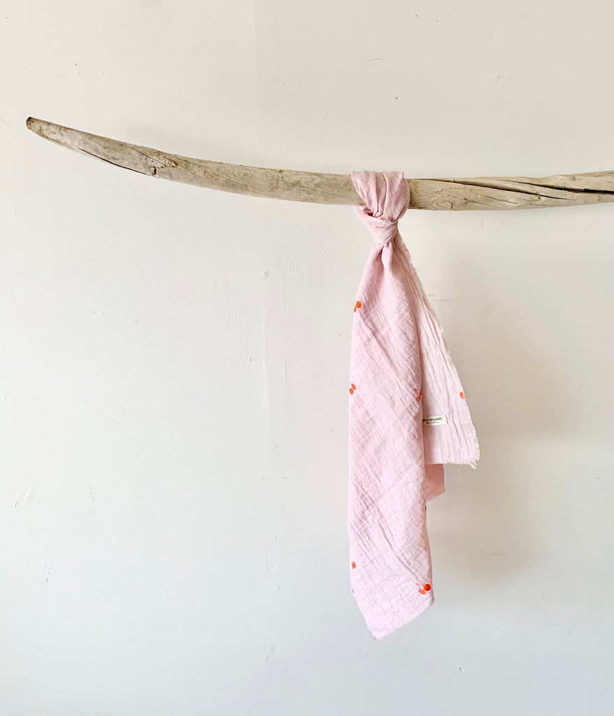 organic cotton gauze scarf - rose quartz with cherry print in orange