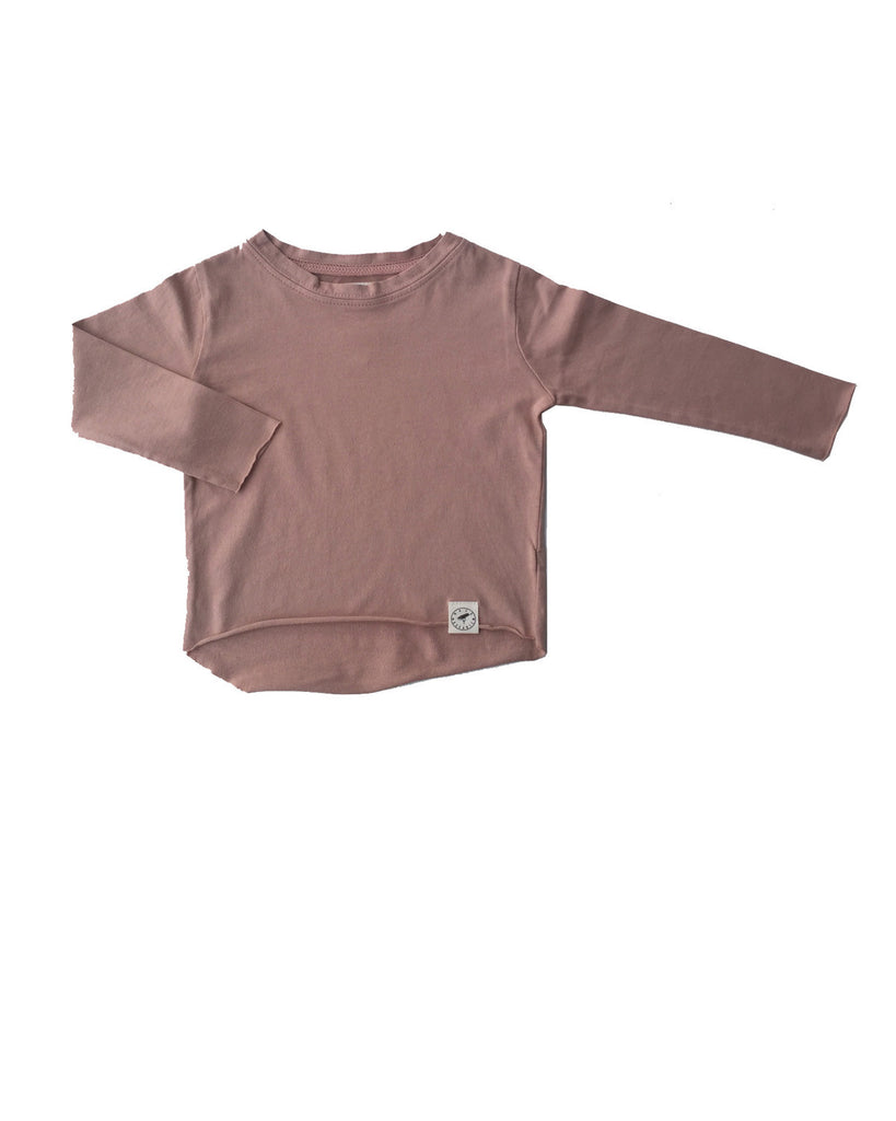 raw edge tee - camel rose
